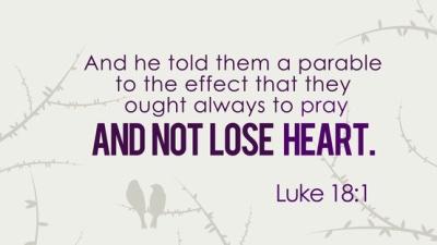 Image result for pray always and do not lose heart luke gospel